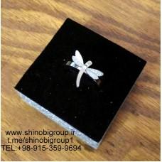 انگشتر استیل زنانه سنجاقک سفید